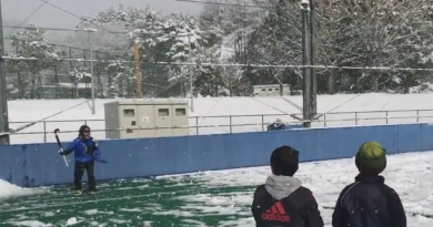 Hockey goalkeepers versus snowballs! Now this is a fun idea…