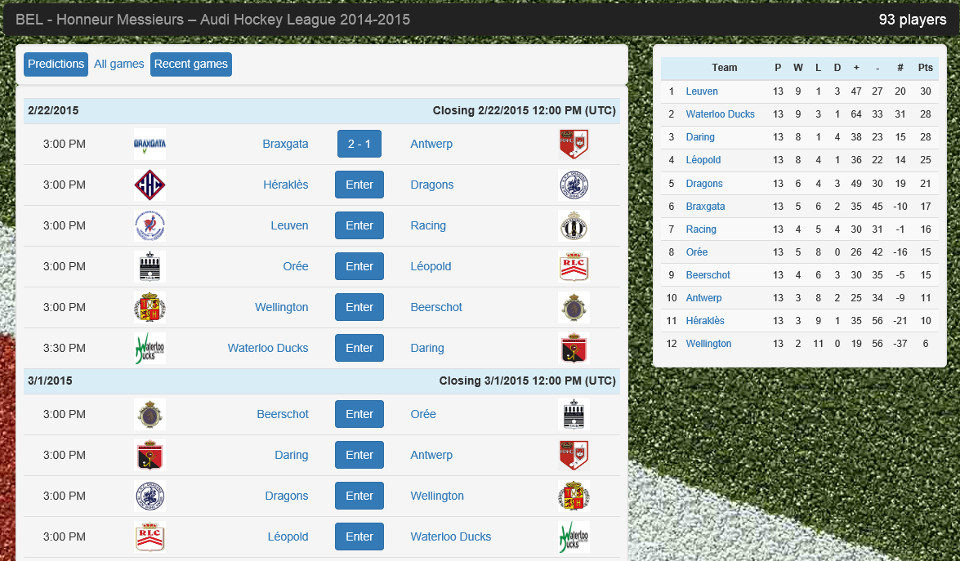 Earn points by predicting league scores