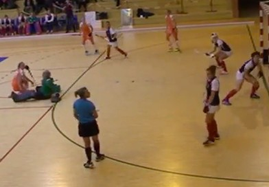 An indoor penalty corner that was saved with the face! (Mask)