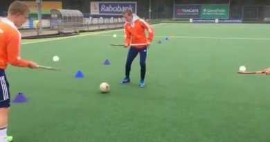 Juggling hockey balls while passing a football around, fun and challenging!
