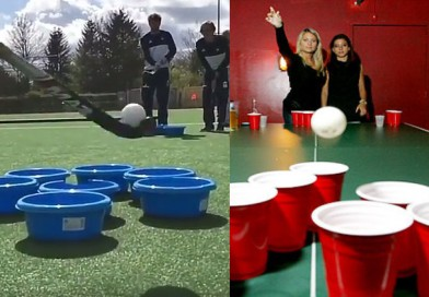 Beer-pong the hockey way? How comes nobody thought of this before!