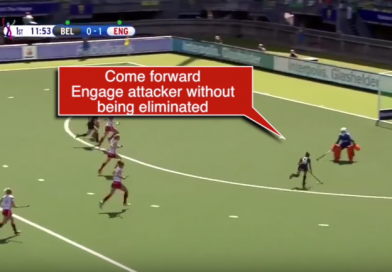 What should a goalkeeper do under a 1v1 situation? By Hockeyroos GK Coach, Mark Hickman