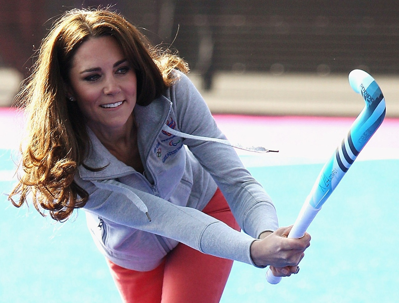 Britain's Catherine, Duchess of Cambridge plays hockey with the GB hockey teams at the Riverside Arena in the Olympic Park in London
