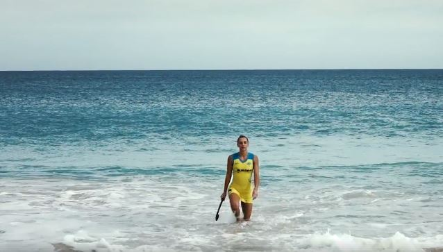 A Hockeyroo coming out of the water… Gabi Nance